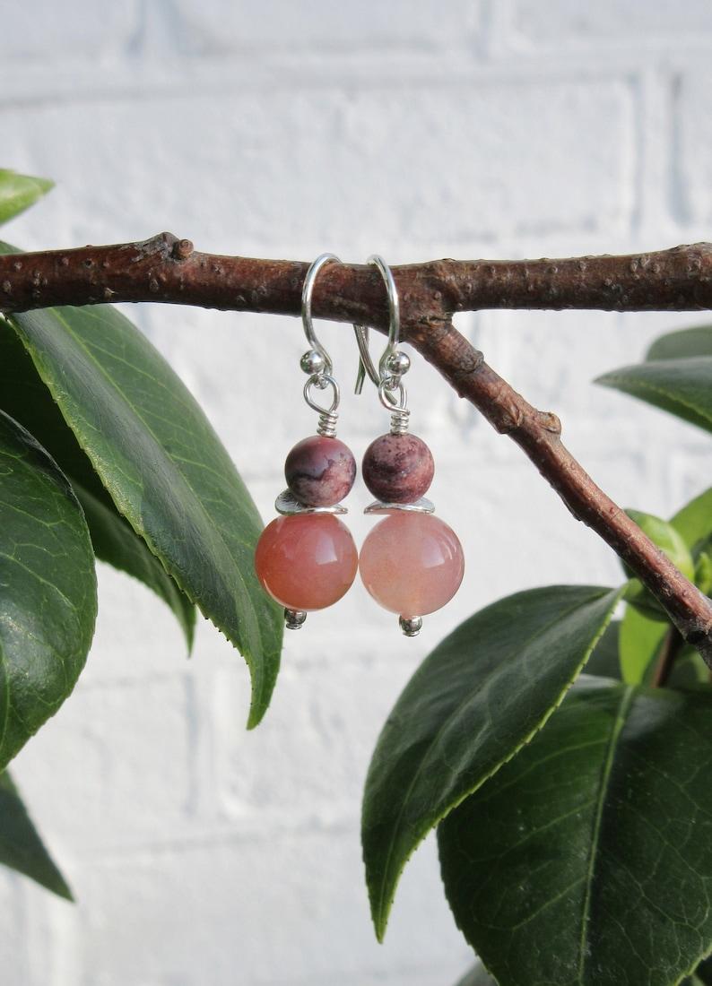 Pink chalcedony and porcelain jasper earrings gemstone dropdangle earrings gift for her 925 sterling silver