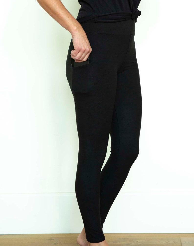 Women/'s Black Pocket buttery soft Yoga waistband Leggings