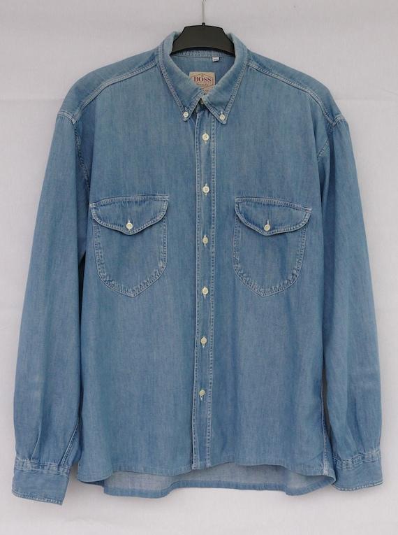 Light Blue Denim Shirt Vintage Hugo Boss Denim Shi