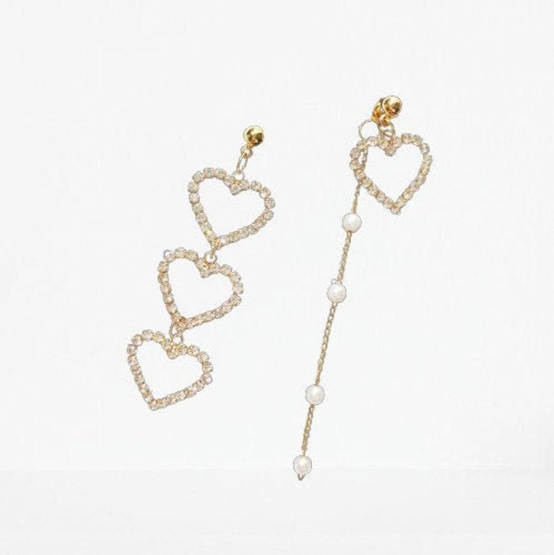 Gift for her Gold Earrings Asymmetrical Love Heart Earrings Jewellery Gifts Pearl Earring Dangle Earring Drop Earring Silver Earrings