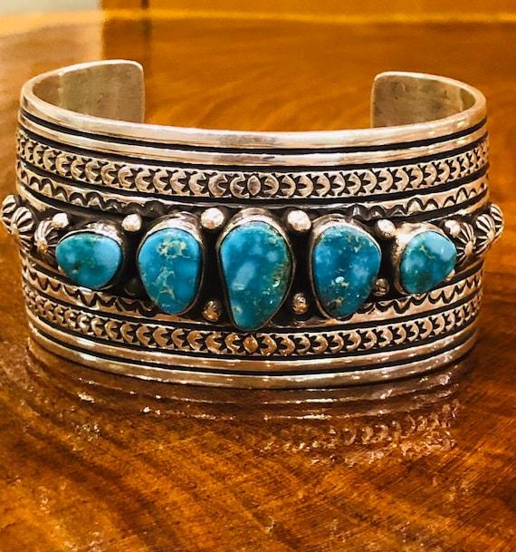 Native American Handmade Navajo Lapis Sterling Silver Charm Style Chain Link Bracelet