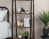 4 Tier Rustic Ladder Shelf With Metal Frame - Ladder Bookcase - Bookshelf - Display Rack - Plant Stand
