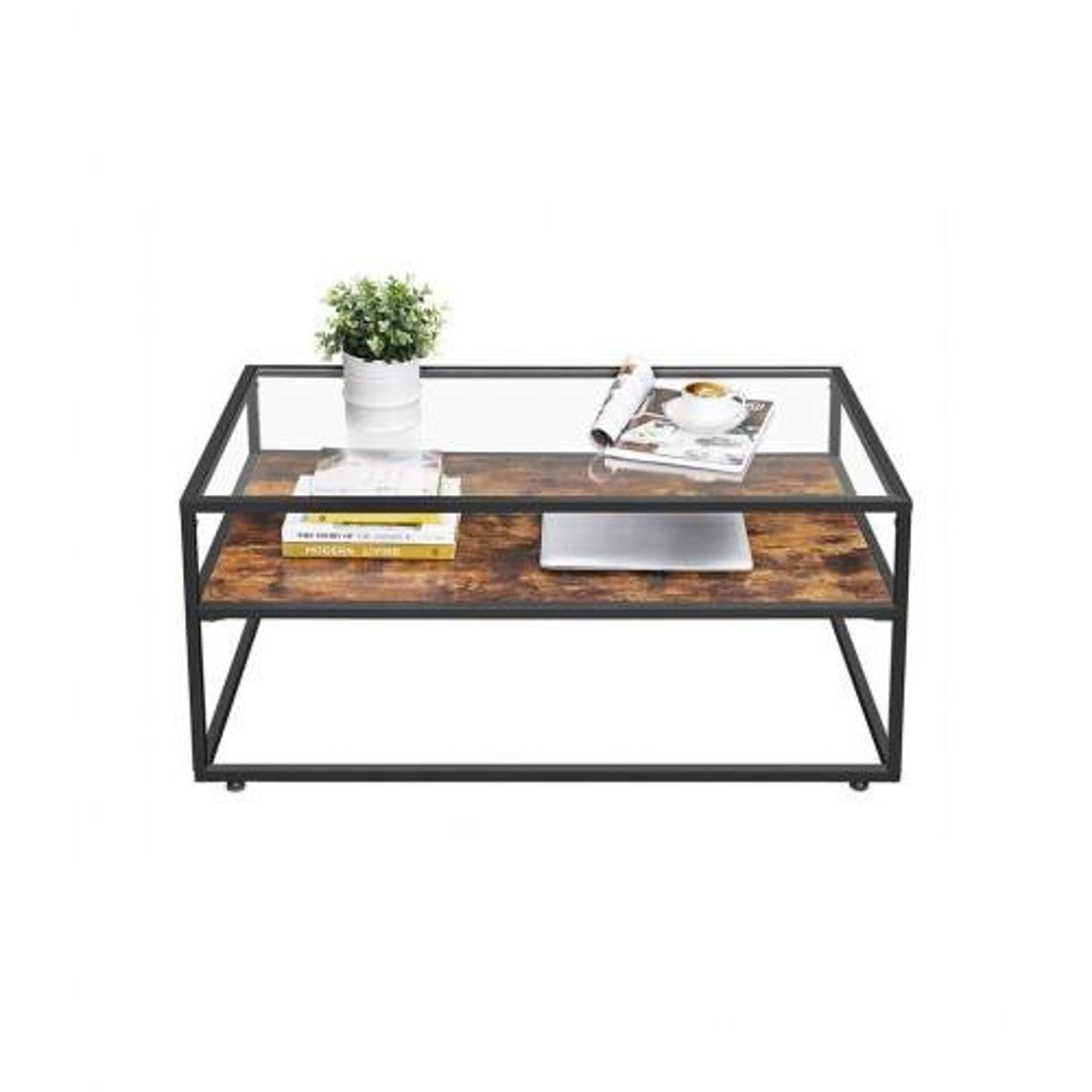 Mid Century Glass Tabletop Coffee Table - Center Table
