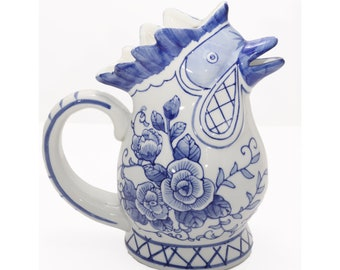 Vintage rustic farmhouse transferware pottery pitcher with a blue chicken and rooster