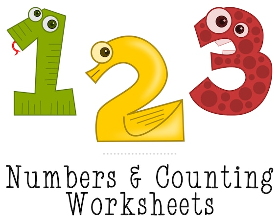 Numbers And Counting Preschool Printables Learning Worksheets Etsy