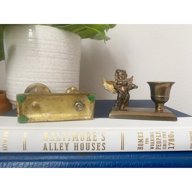 Vintage Pair of Brass Angel Candlestick Holders