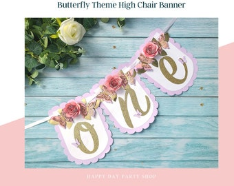 Butterfly High Chair Banner Butterfly Floral 2nd Birthday Butterfly Two Banner