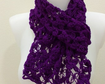 Handmade Crocheted Fashion Ruffle Scarf Ruby Slipper Metallic