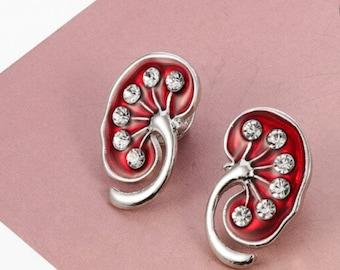 Pair Of Kidneys  Kidney Earrings Kidney enamel pin.Nephrology  urology kidneys