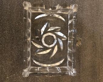 Vintage Pinwheel Crystal Ashtray