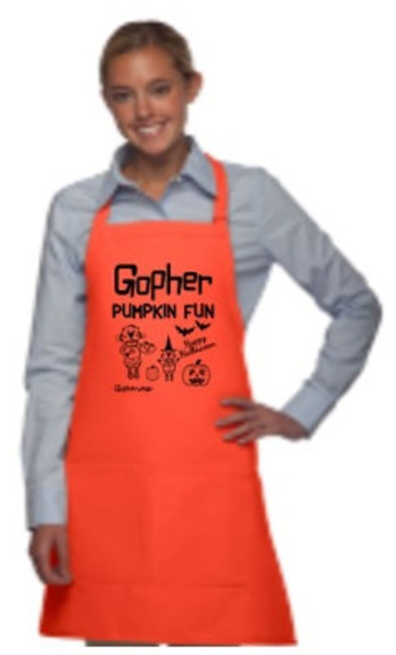 Gopher Pumpkin Fun  Halloween Apron available in Adult Size image 1