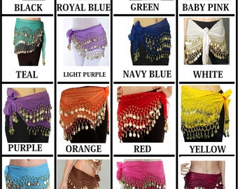 SILVER COIN HIP SCARVES BELLY DANCING JINGLY STRETCH VELVET LOT OF 12 PCS FTY