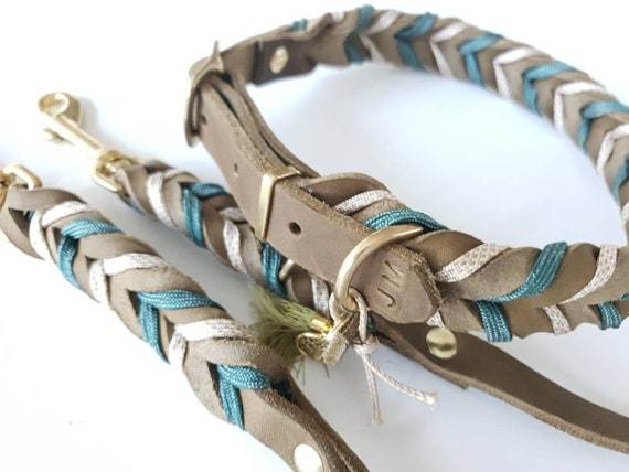 grey collar Dog leash tauline from Paracord as set or singles dog collar gold linen set