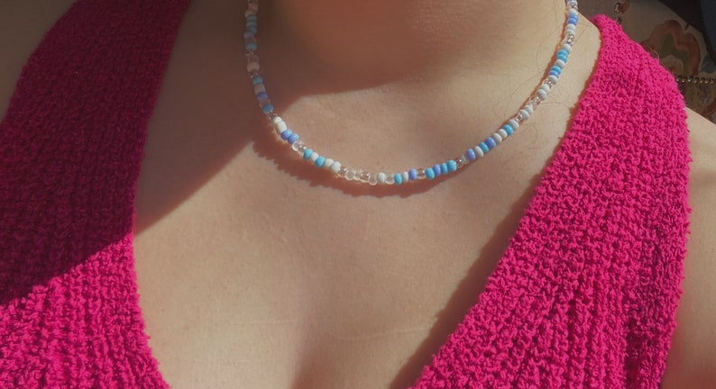 Handmade adjustable light blue and white beaded affordable necklace