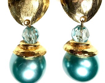 Vintage Earrings Vintage Gold Clip On Earrings Vintage Ear Rings Gold Clip Ons Ear Rings Boho Earrings Gold Ball Earrings AB1