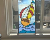 Sail Boat - Beautiful Vintage Salvaged Stained Glass Panel