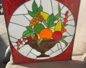 Fruit Bowl - Beautiful Vintage Salvaged Stained Glass Panel