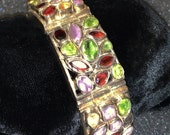 Multi Colored Gemstone Bracelet, Sterling Silver, With Real Stones (Gems), Unique Eyecatching Look, 116.6 Grams Total Weight