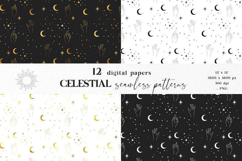 Moon Scrapbook Stars digital paper Celestial digital paper Moon digital paper Moon and stars and sun seamless pattern