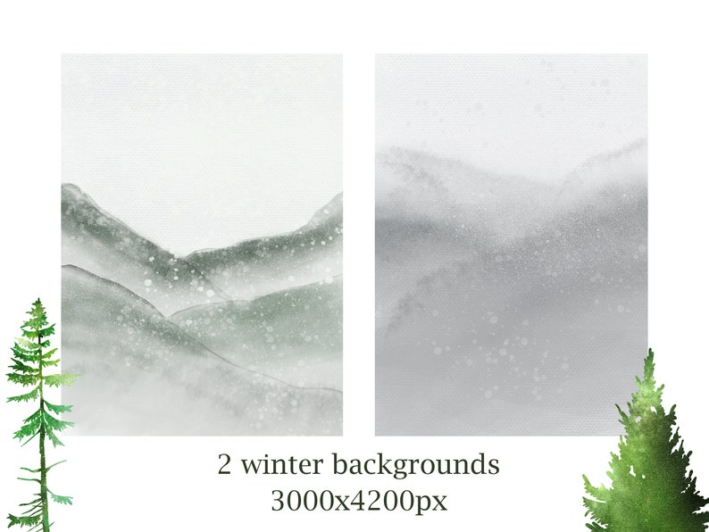 Forest Graphics Conifers Pine Trees Winter tree clipart Watercolor Pine Trees Clipart Woodland Watercolor forest