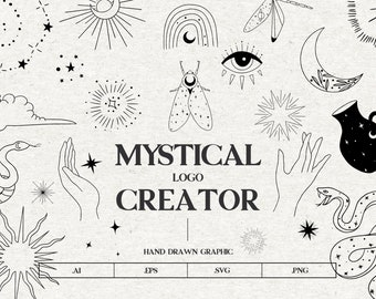 Mystical vector icons, Moon and sun vector clipart, moon phases clipart, celestial svg, Mystery Symbols, plant spiritual logo astrology