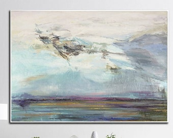 Large Abstract Painting on Canvas Colorful LandScape Painting Abstract Landscape Painting Art Canvas Wall Art Abstract Art for LIving Room