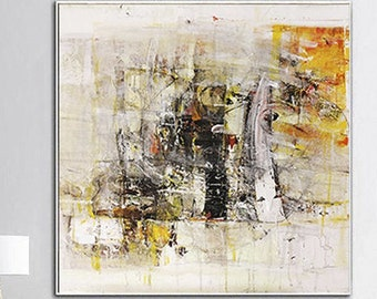 Abstract Beige Wall Art Modern Paintings On Canvas Original White Textured Oil Painting Hand Painted Artwork for Living Room Wall Decor