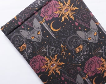 Padded Sleeves Black Magic Print, Witchy, Dark Magic, Tablet Sleeves, Book Sleeves, Cotton, Lined, No Closure, Handmade, Book Lover Gift