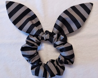 """Black and Gray Stripes Hair Scrunchies, """"Bunny ears"""" accessories, With or Without Tied Bow, Handmade, Cotton, Ready to Ship"""