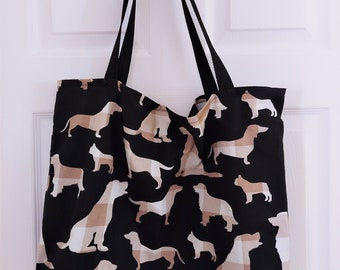 Animal Lover Canvas Tote Bag, Multiple Prints, Single Layer, Grocery Market Shopping Bags, Reusable, No Closure, Accessory, Handmade Gift