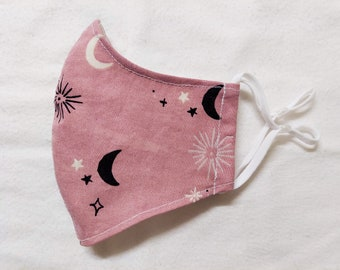 Spellbound in Pink Contoured Masks for Adult, Witchy, 2 Layer Cotton Fabric, Pocket for filter, Reusable & Washable, Ties or Elastic