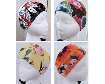 "4"" Wide Floral Twist Headband, Soft Spandex Blend Stretch Knit Fabric, Girlfriend, Spa Gifts, Stocking Stuffer, Favor, Fun, Colorful"