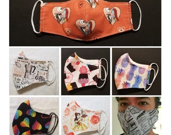 Various Themes Contoured Masks for Adult, 2 Layer Cotton Fabric, with Pocket for filter, Reusable & Washable, Choose Ties or Elastic