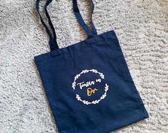 Navy blue custom tote bag