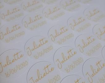 Transparent round adhesive labels - Baptism, communion, birth, child