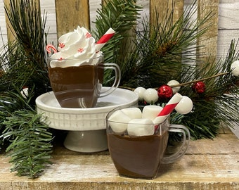 Mini Faux Hot Cocoa; Faux Hot Chocolate; Hot Cocoa Tiered Tray Decor; Christmas Tiered Tray Accent; Hot Cocoa Bar Decor; Faux Whipped Cream