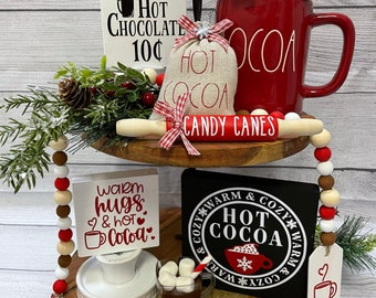 Hot Cocoa Tiered Tray Decor; Hot Chocoloate Bar; Farmhouse Christmas Tiered Tray Decor; Red and White Christmas Decor; Peppermint Decor;