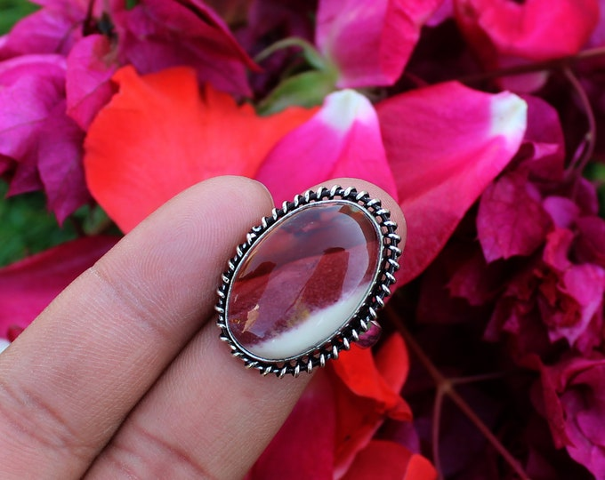 Natural Mookaite Gemstone Vintage Style Setting Handmade 925 Sterling Silver Plated Gemstone RingJewelry 1371