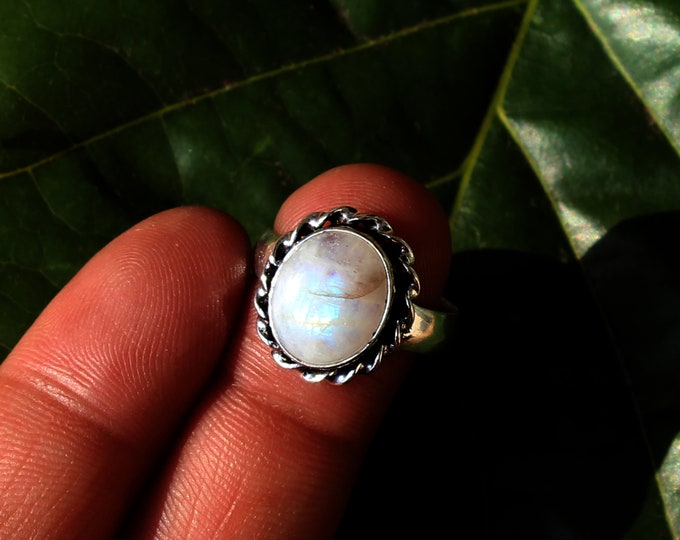 Natural Moonstone Vintage Style Handmade 925 Sterling Silver Plated Gemstone Ring Jewelry 1184