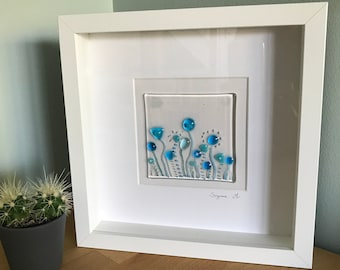 Fused glass framed picture, framed fused glass art, turquoise flowers, Christmas gift present