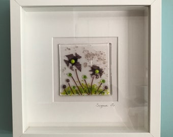 Framed fused glass flowers picture, Christmas Housewarming Birthday gift present