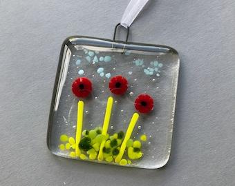 Handmade fused glass poppies hanging decoration, suncatcher, glass art, gift, stocking filler