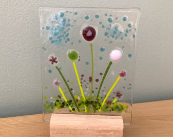 Fused glass flowers panel on wooden stand - fused glass art gift present