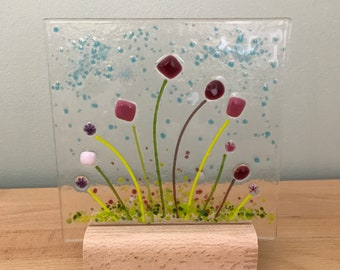 Pretty fused glass panel on wooden stand - fused glass art gift present Christmas