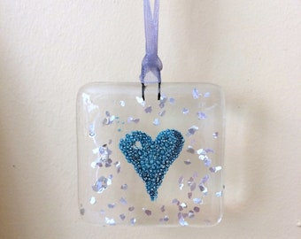 Handmade fused glass heart hanging decoration suncatcher, glass art, love token, engagement, wedding, anniversary gift, stocking filler