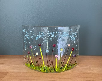 Handmade fused glass curve - freestanding fused glass art - flowers - unique gift present Christmas