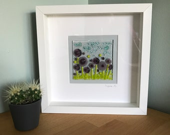 Handmade fused glass flowers picture in white box frame, Christmas Housewarming Birthday gift present