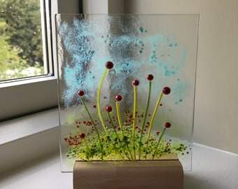Fused glass poppies panel on wooden stand - fused glass art gift present Christmas