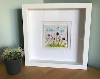 Handmade fused glass framed picture, framed fused glass art, pretty flowers, Christmas gift present