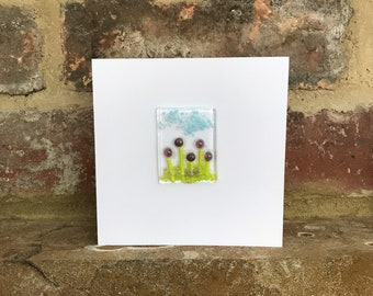 Handmade Fused Glass Card, Flowers, Thinking of You Card, Birthday Easter Anniversary Cards, Unique Greeting Cards